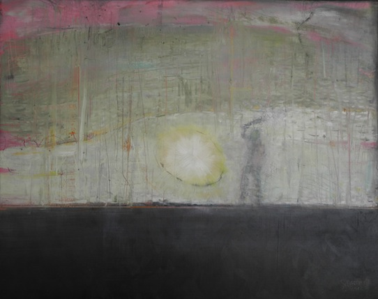 "Deep Hurt Optic: oils, resins on wood 24\"" x 36\"" 2014"