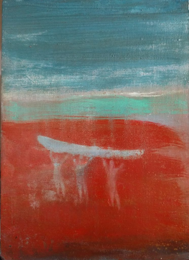 """This Land Is Your Land II SOLD: oils, resins on wood 9"""" x 12"""" 2017"""